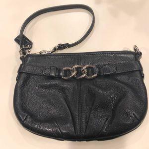 Coach black leather wristlet, chain link front